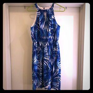 London times palm print keyhole halter dress